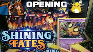 A FATEFUL DAY! Opening a Shining Fates Dedenne Mad Party Pin Collection of Pokemon Cards! by Flammable Lizard