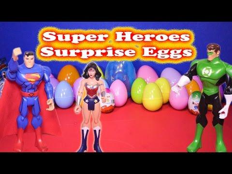 SUPER HEROES Surprise Eggs Superman, Batman, Iron Man Wonder Woman Surprise Eggs Toys Videos
