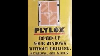 NO DRILLING HURRICANE PLYWOOD Board Up Windows with PLYLOX Irma Harvey Maria Katrina Andrew dorian