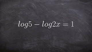 Tutorial - Solving logarithmic equations ex 12, log5 - log2x=1