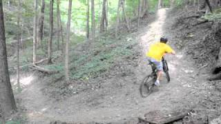 Riding the hill on trail 7 at Kickapoo State Park.
