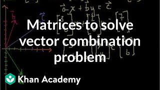Matrices to solve a vector combination problem