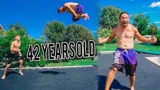 42 YEAR OLD LANDS DOUBLE FRONT ON TRAMPOLINE!