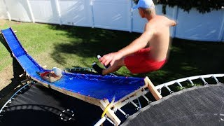 4 Story Trampoline Jump onto Water Slide!! (EXTREME SPEED)