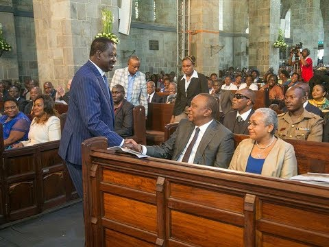 Uhuru Kenyatta and Raila Odinga's re-union at Anglican Church celebrations