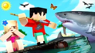 Minecraft RAFT - SHARK EATS ME?!