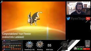 Lumineon  - (Pokémon) - Shiny Finneon via SOS evolves into Lumineon in Pokemon Sun and Moon