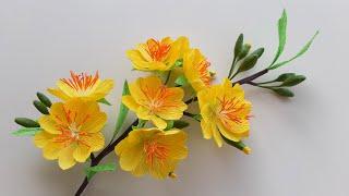 Cách Làm Hoa Mai Bằng Giấy Nhún / Paper Flower / Góc nhỏ Handmade
