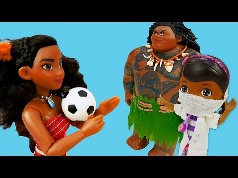 Spielzeug Video mit Doktor Aua. Moana, Maui und Prinzessin Nella auf Deutsch