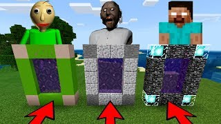 DO NOT CHOOSE THE WRONG PORTAL in Minecraft PE (GRANNY, BALDI & HEROBRINE)