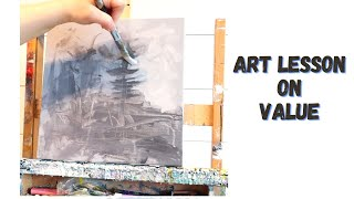 HOW TO PAINT ABSTRACT PAINTING - ART LESSON ON VALUE - PART 1
