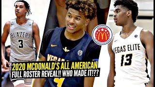 2020 McDonald's All American ROSTER Reveal!! Jalen Green, Josh Christopher, Sharife Cooper & MORE!