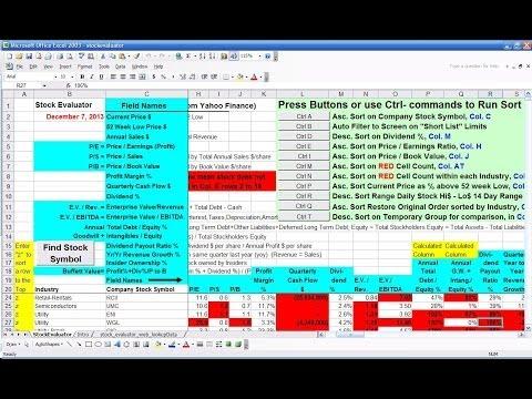 Video of Stock Evaluator spreadsheet