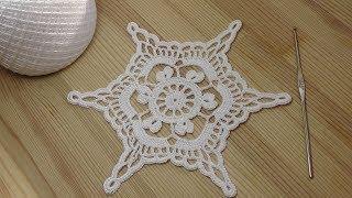 Вязание крючком снежинки How to crochet snowflake - Crochet motifs for beginners