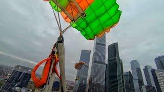 Опаснейший прыжок в костюме крыло с Москва-Сити