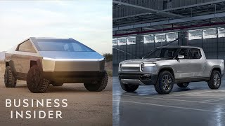 Tesla unveiled the latest in its line of electric vehicles, the Tesla pickup truck, ushering in a new era of electrified utility vehicles. The space, though, already has one competitor: Amazon-backed American manufacturer Rivian's R1T all-electric pickup truck. Which is better?  MORE TESLA:  Watch Tesla Unveil Its Pickup Truck In Under 6 Minutes https://www.youtube.com/watch?v=kNlhcLYcr2I Why A Million-Mile Battery Means Teslas Could Last A Lifetime https://www.youtube.com/watch?v=lZtfAtHMhmE How Tesla's Model Y Compares To Ford's New EV https://www.youtube.com/watch?v=fgTw-2bpWtI  ------------------------------------------------------  #Tesla #Cybertruck #BusinessInsider  Business Insider tells you all you need to know about business, finance, tech, retail, and more.  Visit us at: https://www.businessinsider.com Subscribe: https://www.youtube.com/user/businessinsider BI on Facebook: https://read.bi/2xOcEcj BI on Instagram: https://read.bi/2Q2D29T BI on Twitter: https://read.bi/2xCnzGF BI on Amazon Prime: http://read.bi/PrimeVideo  How Tesla's Cybertruck Stacks Up Against the Rivian R1T Electric Truck