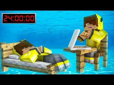 24 Saat Suyun Altinda Kaldim 😱 Minecraft