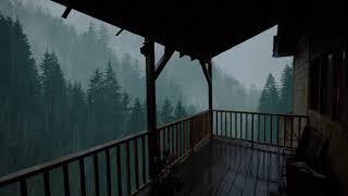 Pioggia Rilassante per Dormire in 5 Minuti - Pioggia e Temporale sul Tetto nella Foresta Nebbiosa