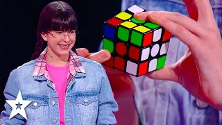 She Got The GOLDEN BUZZER While Solving The Rubik's Cube With Judges! | Got Talent Global