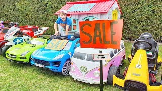 ALİ ARABALARI SATIYOR Funny kids pretend play SALE TOY CARS in the garden and Ride on Power Wheels