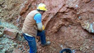 Large Clusters being dug by Bobby Fecho at Bear Mountain Crystal Mine in Mount Ida, Arkansas