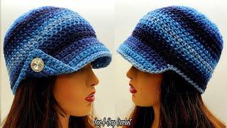 Easy Crochet Newsboy Hat   Bag O Day Free  Crochet Tutorial #670 Subtitles Available