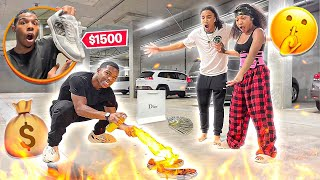 BURNING MY SISTERS BOYFRIEND SHOES AND SURPRISING HIM WITH $1500 DESIGNER SHOES!