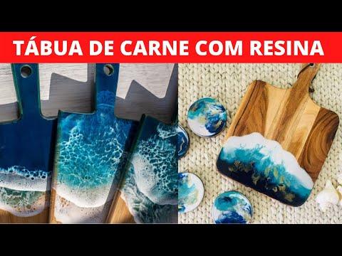 TBUA DE CARNE DE RESINA APRENDER a fazer TABUA DE CARNE DE RESINA EPXI curso de mesa resinada