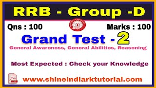RRB - Group - D Grand Test - 2 || Most important and Most Expected