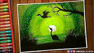 How To Draw Day And Night Scenery With Oil Pastels ฟร ว ด โอ