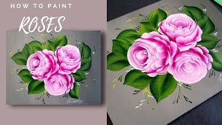 SIMPLE Rose Acrylic Painting Techniques - Painting Lessons  - Learn To Paint Roses - Day #12