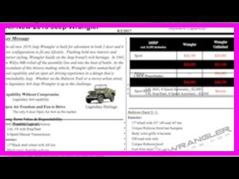 2018 jeep wrangler pricing msrp, 2.0l mpg and colors preview shown in internal info sheet
