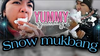 Snow Mukbang 😂😂😂 first Day of Snow in Turkey Province🥰watch till d end