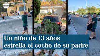 Un niño de 13 años coge el coche de su padre y se estrella contra un colegio