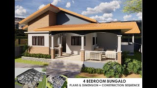 4 bedroom bungalow 14m x 14.5m house design idea