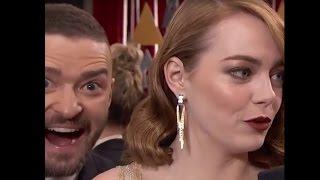 Oscars 2017: Emma Stone Photobombed by Justin Timberlake the Oscars Red Carpet | ABC News
