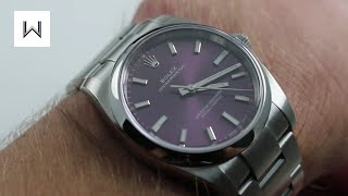 Rolex Oyster Perpetual 34 114200 Purple Dial Luxury Watch Review