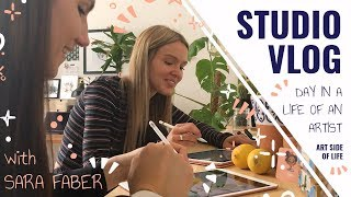 STUDIO VLOG + DAY IN THE LIFE OF AN ARTIST with SARA FABER (+ IPAD PRO SKETCHING)