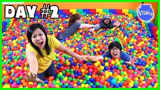 Last to leave the GIANT BALL PIT Wins!! 24 Hour Challenge !