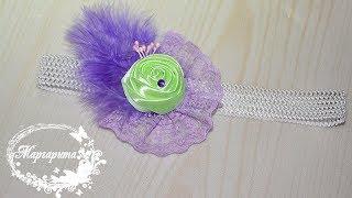 ПОВЯЗКА на голову С РОЗОЙ 🌷 МК канзаши 🌷 DIY Kanzashi Headband