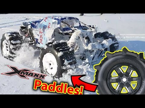 How Good Are X-Maxx Paddle Tires On SNOW? EPIC BASH With Traxxas TRX-4