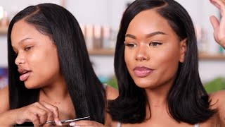 GLUELESS WIG | EASY HAIR & MAKEUP GLAM TRANSFORMATION | Arnellarmon