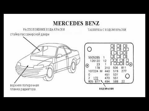 Расположение кодов красок на автомобилях