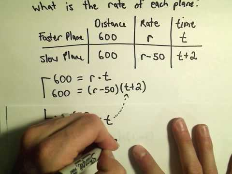 Solving Word Problems in Distance, Rate, and Time Using Quadratics - Example 2