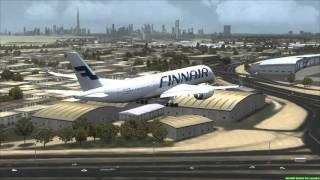 FINNAIR A350-900 landing in Dubai [FSX]