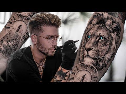 realistic lion tattoo timelapse video by daniel silva