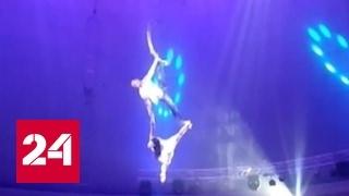 В Минске российская гимнастка сорвалась с высоты, выступая без страховки