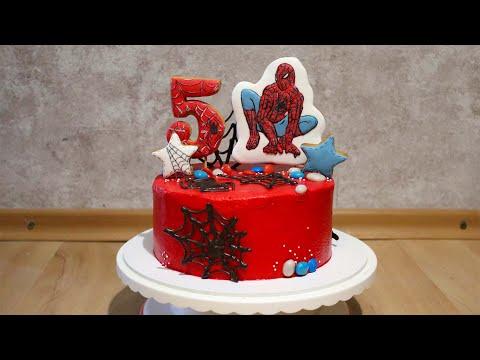 Торт с человеком-пауком на 5 лет