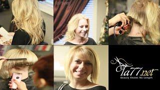 Tyche - Pt 2: Cute Blonde Gets A Angled Bob Cut (Free Video)