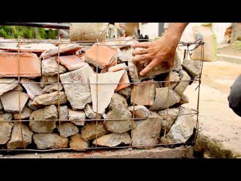 ¿Cómo construir un muro de gavión con escombros?